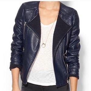 NWT Piperlime Faux Leather Navy Moto Jacket